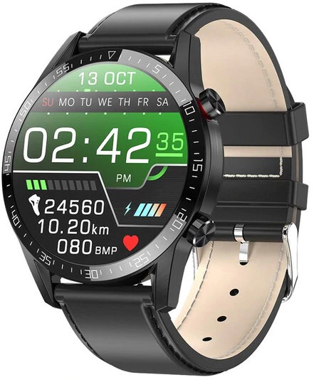 Wotchi Smartwatch WT35BLL - Black Leather - SLEVA