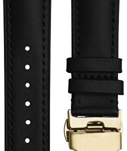 4wrist Kožený elegantní řemínek - Černý se zlacenou sponou 20 mm