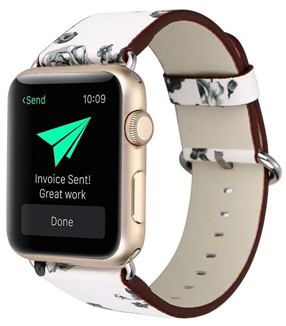 4wrist Kožený řemínek pro Apple Watch s motivem květin - bílo-černý 42/44 mm