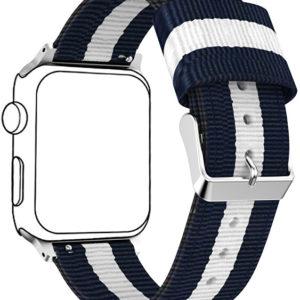 4wrist NATO řemínek pro Apple Watch - Modrá/Bílá 42/44 mm