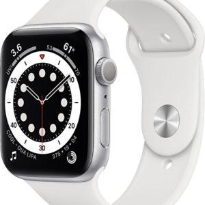Apple Watch Series 6 44mm stříbrný hliník s bílým sportovním řemínkem - SLEVA